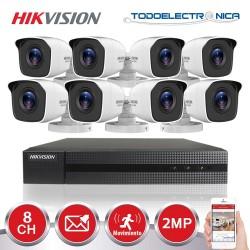 Kit de vigilancia Hikvision: grabador + 8 cámaras de 2 mpx y 2.8mm