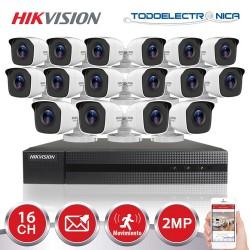 Kit de vigilancia Hikvision: grabador + 16 cámaras de 2 mpx y 2.8mm