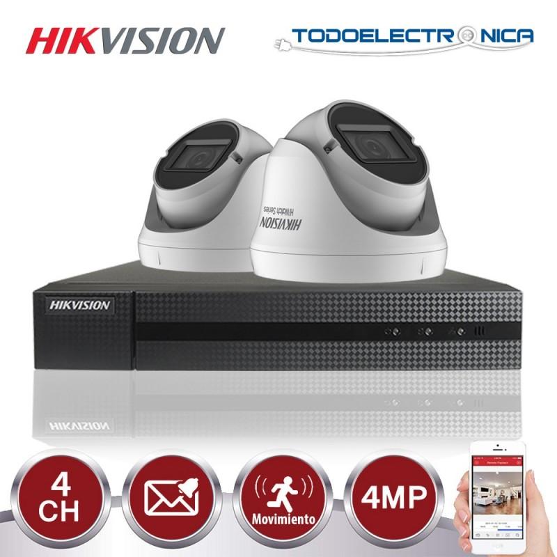 Kit de vigilancia Hikvision: 2 cámaras domo 4mpx/varifocal + grabador