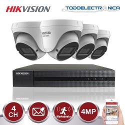 Kit de vigilancia Hikvision: 4 cámaras domo 4mpx/varifocal + grabador