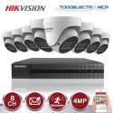 Kit de vigilancia Hikvision: 8 cámaras domo de 4mp/2.8~12 mm +grabador