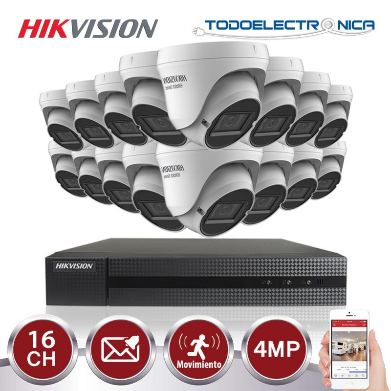Kit de vigilancia Hikvision: 16 cámaras domo de 4mp/2.8~12mm +grabador