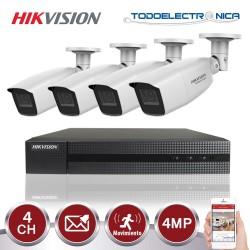 Kit de vigilancia Hikvision: grabador + 4 cámaras de 4 mpx y 2.8~12 mm