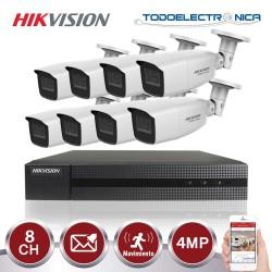 Kit de vigilancia Hikvision: grabador + 8 cámaras de 4 mpx y 2.8~12 mm