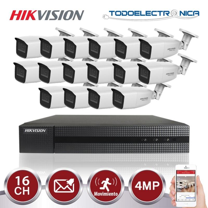 Kit de vigilancia Hikvision: grabador + 16 cámaras de 4 mpx y 2.8~12mm