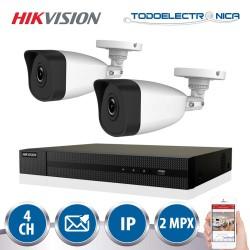 Kit de 2 cámaras de vigilancia IP de 2mpx y 2.8mm + grabador Hikvision