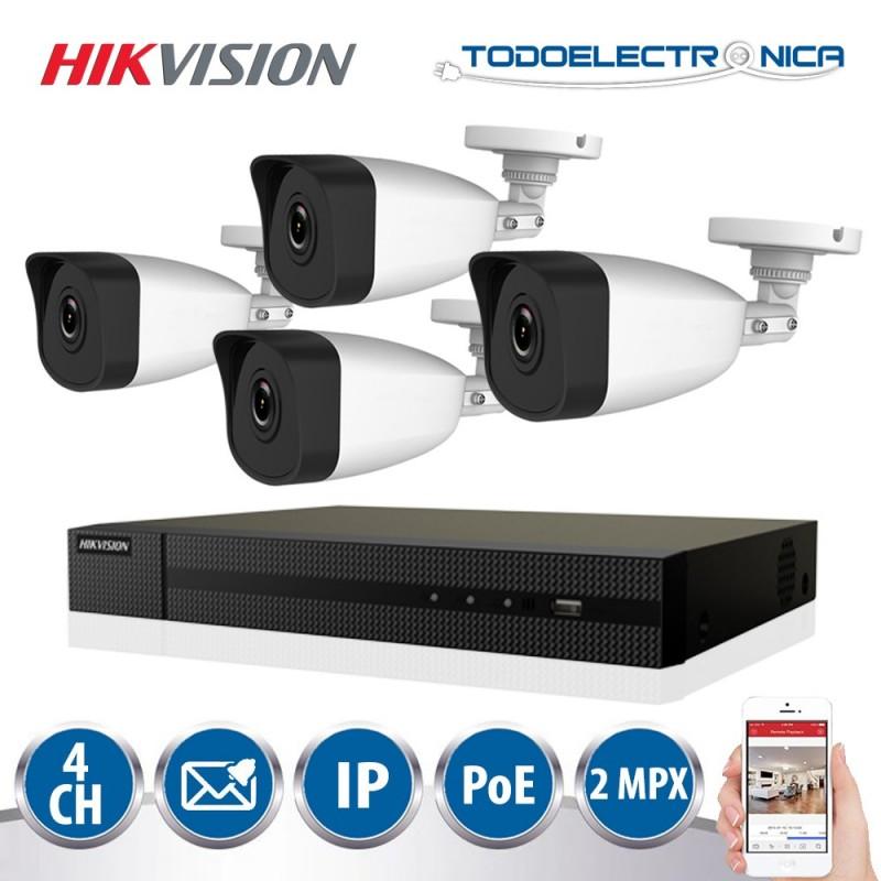 Kit de vigilancia POE Hikvision con 4 cámaras de 2mpx y grabador NVR