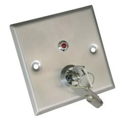 Pulsador con llave para apertura de puerta empotrable | 86x86x20 mm