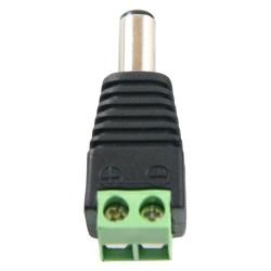 Conector DC hembra con salida +/- de 2 terminales para cámaras de CCTV