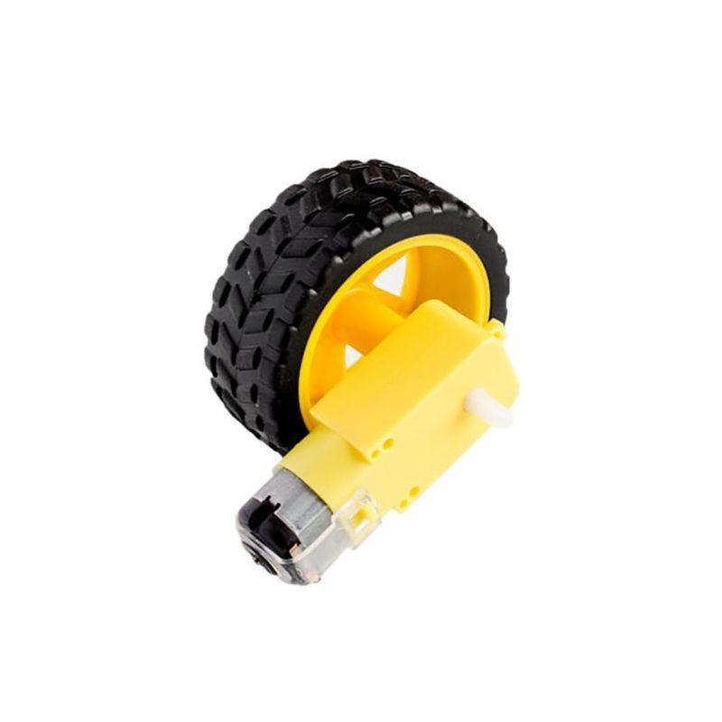 Kit motor reductor con rueda de 65 mm para montar coche robot