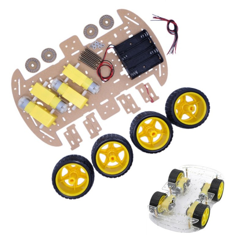 Kit de chasis de coche 4WD con encoders y motores para montar robot