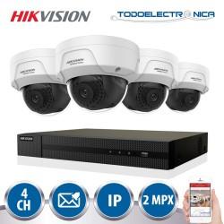 Kit de vigilancia IP Hikvision con 4 cámaras IP de 2 mpx y grabador NVR