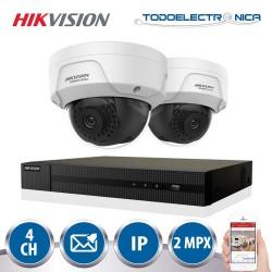 Kit de 2 cámaras IP domo WiFi 3 mpx lente 2.8mm IR + videograbador 4CH