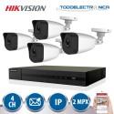 Kit de 4 cámaras de vigilancia IP de 2mpx y 2.8mm + grabador Hikvision
