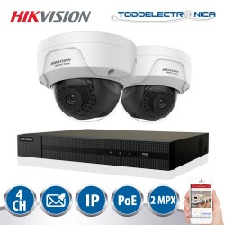 Kit de vigilancia POE Hikvision con 2 cámaras de 2mpx y grabador NVR