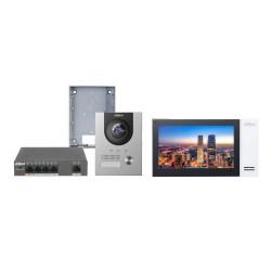 Kit de videoportero IP Dahua para superficie con monitor y switch
