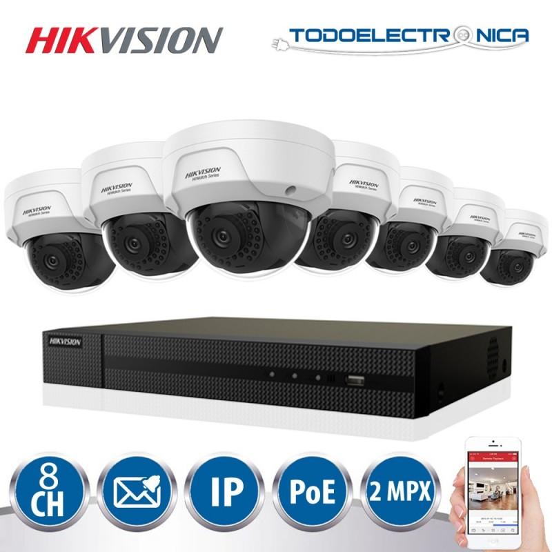 Kit de vigilancia POE Hikvision con 8 cámaras de 2mpx y grabador NVR