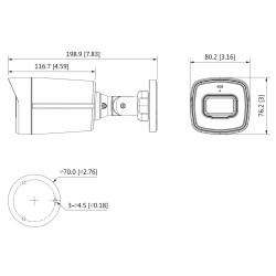 Dimensiones de la cámara Dahua HAC-HFW1200TL-A-S5 con micrófono