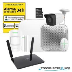 Kit alarma Ajax para segunda residencia con cámara, router 4G y sirena