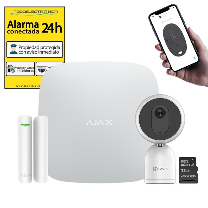 Kit alarma Ajax con cámara, detector, tarjeta 32GB y cartel económico