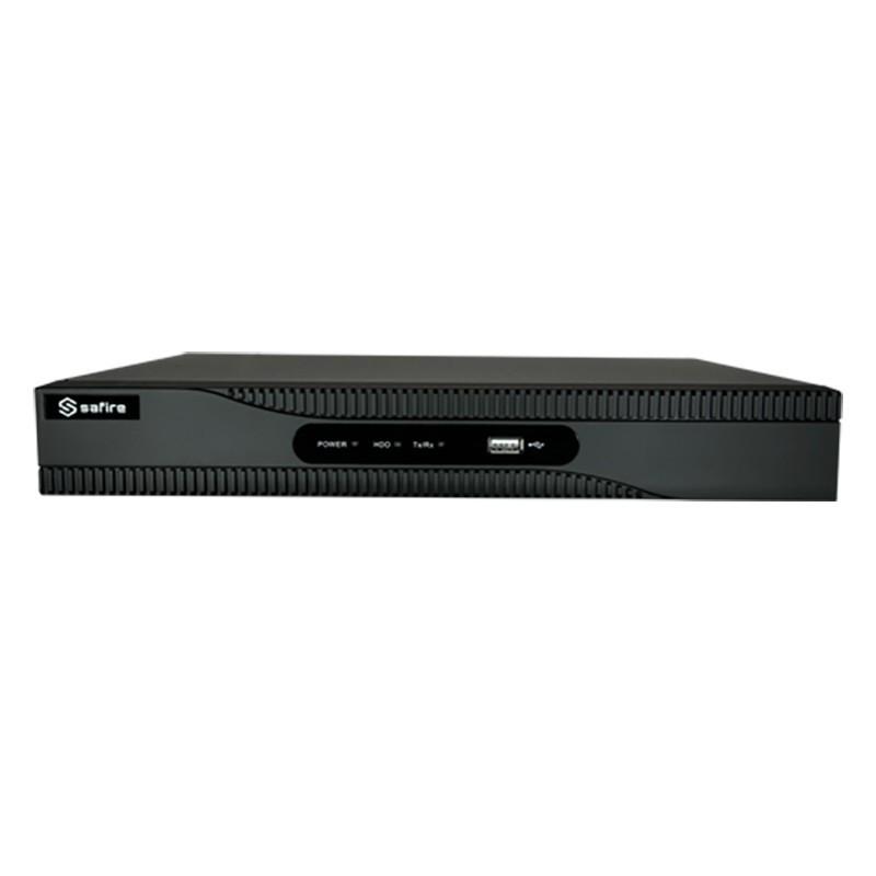 Grabador NVR Safire PoE para 8 cámaras de vigilancia IP hasta 8 mpx