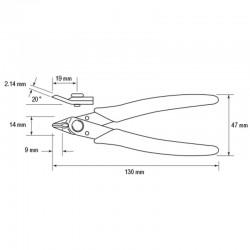 Dimensiones Alicate JBC 270 de corte lateral para hilos blandos de hasta 0.8 mm