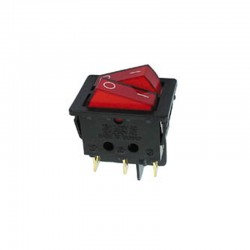 Interruptor de potencia basculante 10A - 250V DPST ON-OFF - piloto indicador rojo