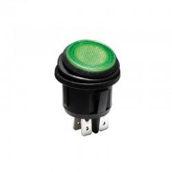 Interruptor basculante iluminado LED verde - 2P/ON-OFF - R13244BG/LED