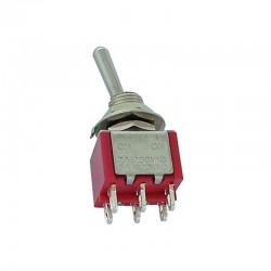 Interruptor de palanca DPDT vertical ON-ON - 8011