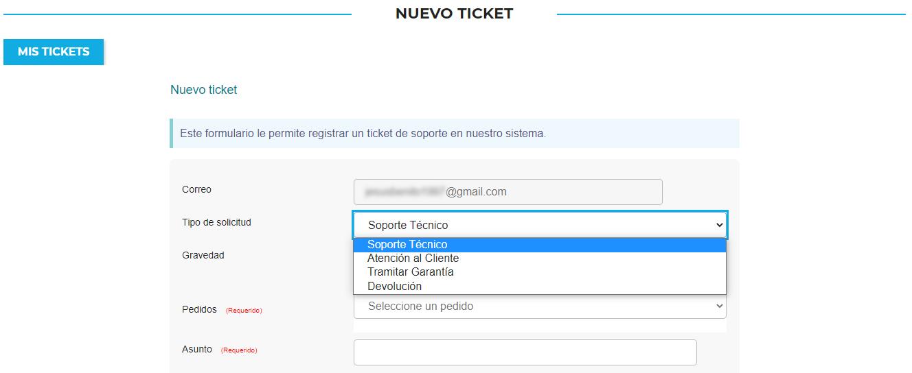 Formulario para crear ticket de soporte técnico, garantía o devolución